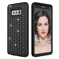 Shockproof Bling Diamond Armor Case para Galaxy Note8 Note 8 Starry Star Rhinestone Hybrid Hard Plastic + TPU Heavy Duty Dual Checkered Cover