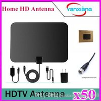 Wholesale 50pcs Amplified TV Antenna High Performance Digital HDTV Antenna with Detachable Amplifier Power Supply and ft Coax Cable YX TX