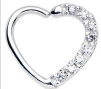 Wholesale 18g lip jewelry resale online - LOT50pcs CZ Gems g Lip Labret Studs Earring Helix Diath Ring Nose Rings Hoop Earring body piercing jewelry Heart Shape NEW
