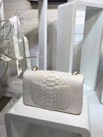Wholesale White Snake Skin Bag - top quality women classic white colour python snake skin shoulder bag, women evening party handbags