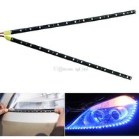 Wholesale Car Waterproof Led Light Strip - 2PCS lot Car LED Daytime Running Light Car LED Strip Light DC12V 30cm 15SMD DRL Waterproof Car Auto Decorative Flexible LED Strip