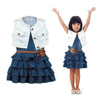 Wholesale denim suit for baby for sale - Group buy Summer Baby Girls navy Jacket vest One Piece Flower cake Denim dress jacket and coat for girls flower belt Two Piece Suit Kids Outfits Sets