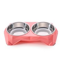 Wholesale Vessel Bowls - Dimond Double Bowls Stainless Steel Pet Bowls Plastic Dog Food Bowl Eating Vessel Water Feeder Container for Pets