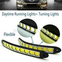 luz de conducción diurna flexible led al por mayor-El más nuevo flexible, impermeable, blanco y amarillo, luz de cabeza de coche, COB LED, luces de circulación diurna, luces de niebla DRL con luz de señal de giro