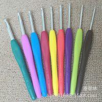 Wholesale Loom Kits Rubber Bands Wholesale - 1set=9pcs Aluminum Metal Crochet Hook Knitting Needles Mixed Sewing Tools Template Kit Loom Tool Band TPR Rubber Handle