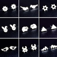 Assorted Tiny Animal Shaped Metal Stud Earrings Silver Plated Wholesale Cheap Skul Monster Angel Wings Earring Studs