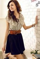 Wholesale Casual Belts For Shorts - Wholesale-Beach Chiffon Dress Womens Short Sleeve Dots Dress Party Dresses Mini Dress for Women Vestidos Without Belt #Gofuly 0614