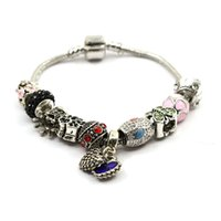 Wholesale Antique Snake Bracelet - Hot selling European pandora style bracelet alloy glass beads antique silver plated charms bracelets for women
