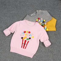Wholesale Wholesale Cotton Sweaters - 3 color Hot selling INS style candy color pullover sweater 100% cotton solid color spring autumn warm Cotton knitted sweater free shipping