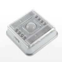 detectores de luz infrarroja al por mayor-L0803SER PIR Emengency Blanco cálido 3W Sensor de movimiento Luz infrarrojo inalámbrico 8 Lámpara de iluminación Led PIR Sensor automático Detector de movimiento iluminación led