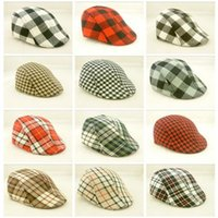 toddler flats Australia - new 150pcs 18colors Kids Boys Girl Beret checked plaid Cap Toddler Children's Flat Cabbie Hats Cotton Sun children Caps D778