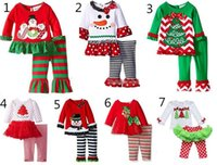 Wholesale Ruffle Girls Shirt - 7 Styles New Girls Xmas Sets babies Christmas Deer Printed T shirt + Striped Dot Ruffle Pants 2 pcs Suit Children Holiday Outfit Set