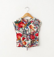 Wholesale New Flowers Printing Blouses - Children shirt girls flowers printed short sleeve shirt Summer new kids cotton bows tops children printed tops A8644