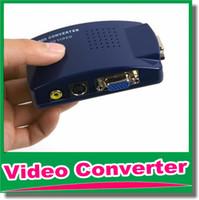 Wholesale Tv System Converter Pal Ntsc - New VGA To Video Universal PC VGA to TV AV RCA Signal Adapter Converter Video Switch Box Supports NTSC PAL system OM-CG8