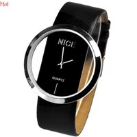 Wholesale Transparent Watch Leather Red - 2016 Charming New Fashion Women Watches Leather Transparent Dial Succinct Sport Quartz Watch Gift Wristwatch For Women Men Colors 3362