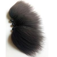 ingrosso capelli vergini brasiliani 5pc-Vendita popolare nero donna capelli vergini brasiliani 3 4 5pc / lotto Kinky Staright capelli umani doppia trama bacio sexy indiani malesi remy dei capelli