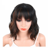 Wholesale synthetic white hair bangs - Black Mix Brown Color Synthetic Wigs With Bangs For Black White Women Short Wavy Women's Hair Wigs Natural Heat Resistant