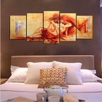 pinturas de los amantes desnudos al por mayor-Pintado a mano 5 piezas amarillo moderno abstracto pinturas al óleo sobre lienzo arte de la pared desnudo Sexy desnudo fotos para la decoración casera