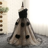 Wholesale Girls Sleeveless One Shoulder Shirt - SSYFashion 2017 New Lace One Shoulder Flower Girl Dresses Black Long Appliques Floor-length Formal Dress The Children Party Gown