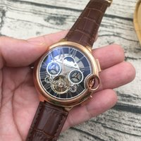 Wholesale Pin Sun - Top Quality AAA Mens Tourbillon automatic Mechanical Watch Men's Swiss Sun stars Watches Men Leather strap Wristwatch relogios masculino