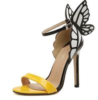 klasik topuklu ayakkabı toptan satış-2018 sarı yay stiletto topuklu kadın pompaları ilkbahar yaz vintage rhinestone ultra yüksek topuklu ayakkabılar kadın sivri burun sandal pompalar