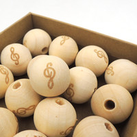 Wholesale Wooden Ball Necklaces Wholesale - 20mm wood round ball bead music note burnt engrave diy accessory wooden beads craft bless teething necklace finding EA148