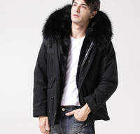 Wholesale Men Down Jacket Canada - Man furs black jacket Mr mini Parkas hood with real raccoon fur collar Canada Germay Sweden free shipping