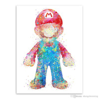 Wholesale Cartoon Painting Games - Original Watercolor Super Mario Japanese Game Poster Print A4 Abstract Picture Kids Room Wall Art Decor Canvas Painting No Frame