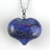 Wholesale Gemstone Loose Beads Opal - Charm Natural Lapis lazuli Opal Gemstone Pendants High Polished Loose Beads Heart Shape Silver Plated Hook Stone Pendant Fit Necklace DIY