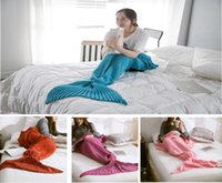Wholesale Air Costumes - 50x90 CM Fashion Knitted Mermaid Blanket Super Soft Warmer Blanket Bed Sleeping Costume Air-condition Knit Blanket Free shipping