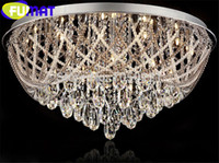 iluminação acolhedora venda por atacado-Luxo Quente Rodada LEVOU Lâmpada de Teto De Cristal Moderna Moda Quarto Sala de estar Hall Restaurante Iluminação