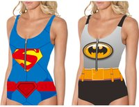Wholesale Bat Superman - BATMAN Bikini Women SUPERMAN Swimsuit With Zipper Bat Hero WONDER WOMAN Beachwear Super MAN Bat Hero One-Piece Swim Set 3D Digital Printing