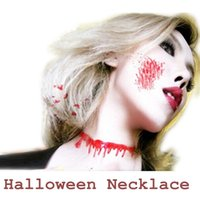 Wholesale Latex Necklace - 2PC Creative Adjustable Bloodstains Necklace Halloween Gadget Masquerade Props Horror Jokes FunnyToys