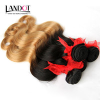Wholesale European Two Tone Hair - Ombre Brazilian Human Hair Extensions Two Tone Color 1B 27# Blonde 7A Ombre Peruvian Malaysian Indian Cambodian Body Wave Hair Weave Bundles
