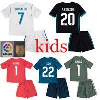 Wholesale Green Spandex Shirt - 2017 2018 Kids Real madrid soccer Jerseys kits 17 18 RONALDO SERGIO RAMOS white Black JAMES BALE RAMOS ISCO MODRIC Benzema football shirts