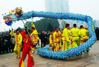 çince ejderha festival kostümleri toptan satış-Dragon Boat Festivali boyutu 4 # 10 m yetişkin ipek 6 oyuncu Çin DRAGON DANCE düğün sahne açık maskot kostüm özel kültür tatil parti