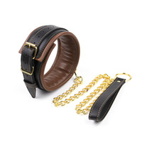 Wholesale Wholesale Sex Shop Products - leather bdsm bondage restraints neck collar and leash chain fetish slave cosplay sex adult collars sexy shop products