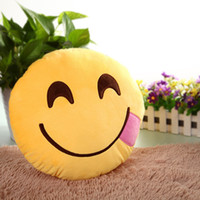 Wholesale Order Sofa Cushions - New Cute Plush Toy Sofa Decorations Soft Emoji Smiley Emoticon Yellow Round Cushion Pillow Stuffed Plush Toy Doll High Quality order<$18no t