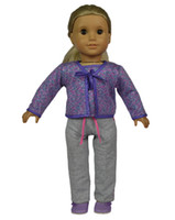"Wholesale Boot Blouse - 18"" Three Pieces A Set American Girl Doll Clothes with Purple Blouse, Camisole and Grey Sport Pants"