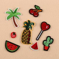 Wholesale Donuts Bag - Brand New 8Pcs Embroidery Donuts Fruit Sew Iron On Patch Badge Bag Clothes Fabric Applique 1 Set Free Shipping[CA12289]