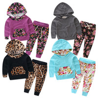 Wholesale Girls Spring Sports Jackets - Children clothing 2016 autumn and winter girl sports leisure suit rose two sets of Hoodie Jacket and trousers free shipping