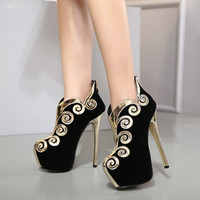 Wholesale Sexy Lady Platform Dress Shoes - Runway show platform thin high heels black gold border ankle bootie women pumps sexy lady dance shoes party queen size 34 to 40