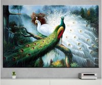 Wholesale Peacock Oil Painting Framed - DP ARTISAN NO FRAME peacock ANIMAL ARTS Printed Oil Painting On Canvas wall Painting for Home Decor Wall picture