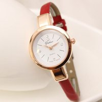 Wholesale Slim Rhinestone Belt - Super Slim Ultra Thin PU Leather Strap Watch High Quality Popular Brand Casual Women Bracelet Watch Female Ladies Rhinestone Wristwatches