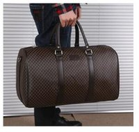 Wholesale Newest style hot sell men s classic fashion luggage plaid trim letters printed PU Canvas duffel bag big bag travel bag yzs168