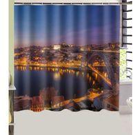 Wholesale River Designs - Portugal Bridges Rivers Night Porto Cities Design Shower Curtain Size 180 x 180 cm Custom Waterproof Polyester Fabric Bath Shower Curtains