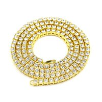 Wholesale Single Rhinestone Necklace - 2017 hot 18k gold silver black single row diamond Rhinestone necklace chain jewelry for fashion men