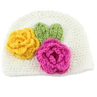 Wholesale Girls Flower Beanie - Baby beanies Kids handcraft hat infants knitted hats Baby girl Autumn winter Flowers 1 month- 2years baby girl Quality 2016
