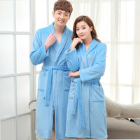 Wholesale Green Silk Womens Dresses - Wholesale- Womens Men Luxury Grey Kimono Bath Robe Long Silk Flannel Coral Bathrobe Women Bridesmaid Robes Dressing Gown Peignoir Badjas