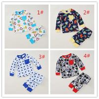 Wholesale Sets Boy Sport - 14 Styles Long Sleeve Kids Pajamas 100% Cotton Boys PjsToddler Cartoon Sleepwear Siut Girls Sports Clothing for Pyjamas Sets 1#